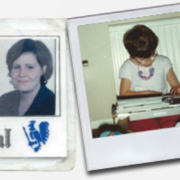 A press pass picture, me using a typewrite, and up to date image