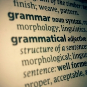 Close up image of thesaurus entry for the word 'grammar'